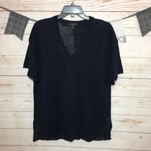 J. Crew Navy Linen Oversized Open Weave Tunic M